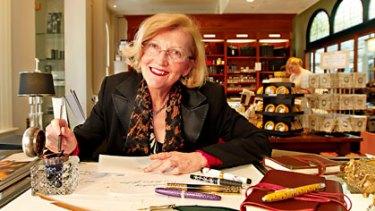 Pen pals ... Barbara Nichol in her shop Pen-Ultimate in Sydney's QVB.