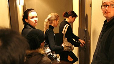 A long queue of people wait to inspect an apartment in Collins Street in May last year.