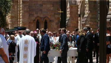 BRISBANE, AUSTRALIA - JANUARY 13:  The funeral for coward punch victim Cole Miller on January 13, 2016 in Brisbane, Australia.  (Photo by Chris Hyde/Fairfax Media)