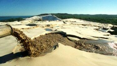Sand mining on Stradbroke Island.