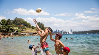 Jumping for joy: Sydneysiders will be able to enjoy the warmest November week in nearly 50 years.