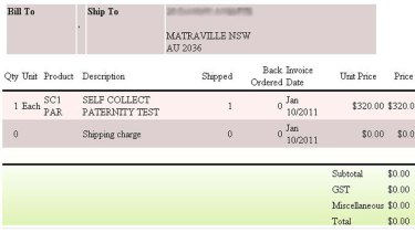 An example of one of the paternity test orders that were available online.