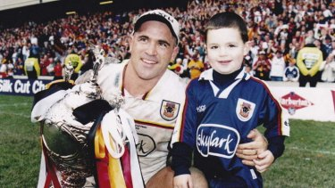 Former Canberra Raiders player David Boyle and his son Morgan.