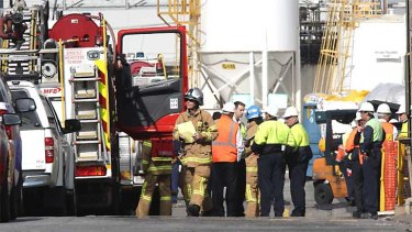 Emergency service crews at the Nufarm site in Laverton where a man was killed.