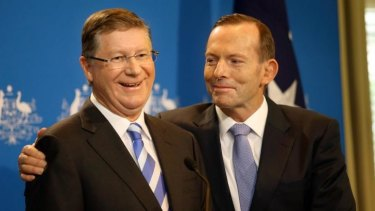 Denis Napthine and Tony Abbott at the joint  announcement of a police investigation into building industry corruption.