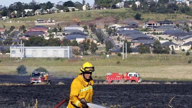 Yesterday's grass fire at Sunbury was close to houses.
