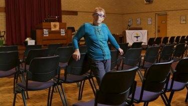 Hon Secretary Marion Harper in the Melbourne Unitarian church in East Melbourne.