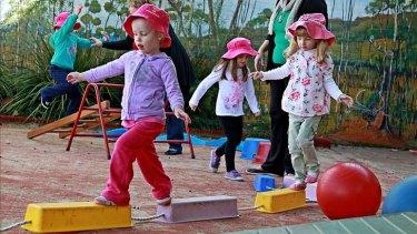 Children play at Engadine Preschool Kindergarten this week.