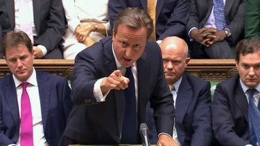 Britain's Prime Minister David Cameron addresses the House of Commons on Friday on the subject of Syria.