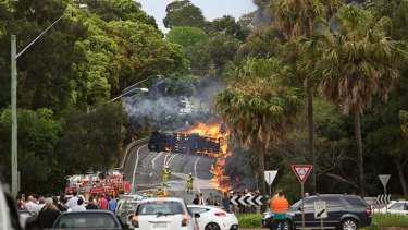 Two people died as a Cootes tanker rolled over and burst into flames in Sydney in 2013.