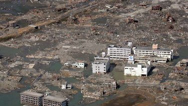 An area destroyed by the tsunami in Sendai in Miyagi prefecture.