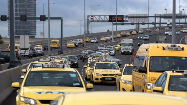 Taxi drivers blocked Melbourne traffic on Monday.