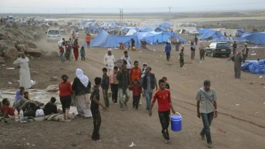 Displaced Yazidis at a camp in Dayrik, a town in Syria's far north-eastern Hasaka province also known as al-Malikiya.