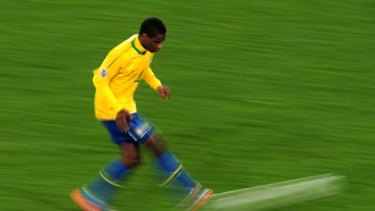 Juan of Brazil in action during the match against Chile at Ellis Park Stadium on June 28, 2010.