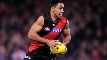Stabbed ... Essendon's Nathan Lovett-Murray.