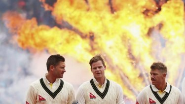 Michael Clarke, Steve Smith and David Warner of Australia at the opening ceremony of The Ashes.