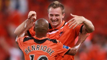 Roaring success ... Besart Berisha celebrates one of his four goals.