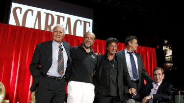 "From left: Robert Loggia, with F. Murray Abraham, Al Pacino, Steven Bauer, and Martin Bregman pose together onstage during the ""Scarface"" Legacy Celebration Event in Los Angeles."