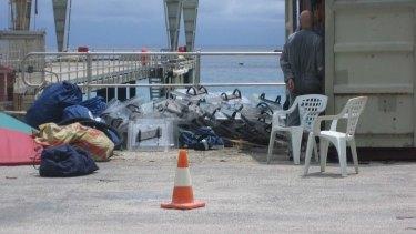 Riot shields offloaded onto Christmas Island.
