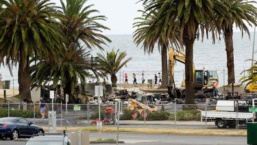 The site of the collapsed Stokehouse restaurant in St Kilda.