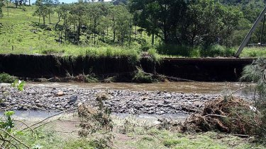 Erosion along a Lockyer Valley riverbank.