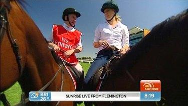 <i>Sunrise</i> host Samantha Armytage on a horse at Flemington's Melbourne Cup.