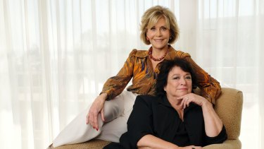 Jane Fonda (back) and Susan Lacy, the director of the documentary <i>Jane Fonda in Five Acts</I>.