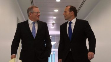 Immigration Minister Scott Morrison with Prime Minister Tony Abbott.