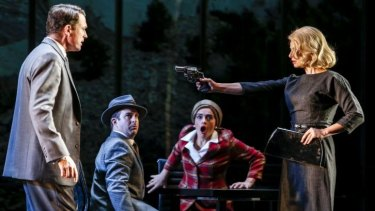 Matt Day (left) and Amber McMahon (right) in the MTC's world-first stage adaptation <i>North by Northwest</i>.
