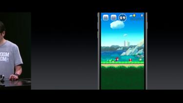 Nintendo's Hideki Konno plays <i>Super Mario Run</i>.
