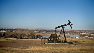 An electric crude oil pumping unit on the hills of North Dakota.