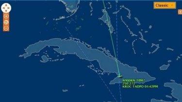 The path the flight took over Cuba.