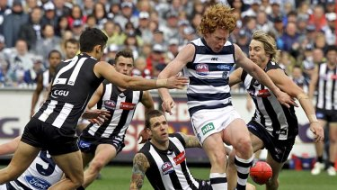 Cats on the warpath: Cameron Ling bursts free of a pack of Magpies.