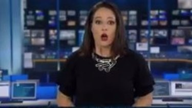 The moment newsreader Natasha Exelby realised she was on-air.