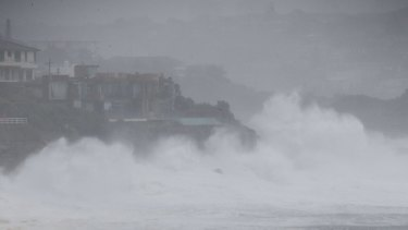 Huge waves whipped up by the storm smash into Lurline Bay, Sydney.