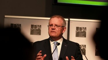 Treasurer Scott Morrison speaks at the Urban Development Institute of Australia event on Monday.