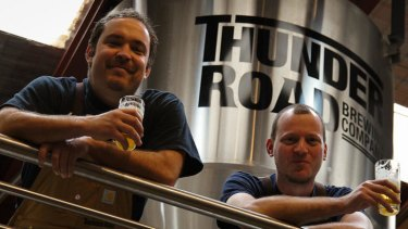 Thunder Road's Harvey Kenney (left) and Marcus Cox are hoping to corner the market on ''brilliant, beautiful, clean, bright beer''.