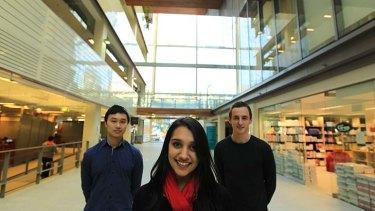 In demand … information technology students John Tran, Vaishnavi Yadav and James McCallum.