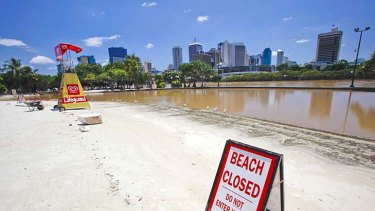 The beach at South Bank immediately after the Brisbane floods.