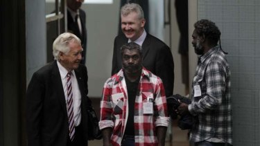 Environment minister Tony Burke with former prime minister Bob Hawke and traditional owner Jeffrey Lee (centre) and Stewart Gangali  in Parliament House. Koongarra has been included into Kakadu National Park.