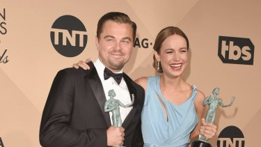 Leonardo DiCaprio, winner of the award for Outstanding Performance by a Male Actor in a Leading Role for <i>The Revenant</i>, and Brie Larson, winner of the award for Outstanding Performance by a Female Actor in a Leading Role for <i>Room</i>.