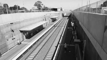 Mitcham railway station, built in a trench to remove a railway crossing in 2014, is isolated and disconnected from the local shopping centre, according to the Melbourne University-RMIT report.