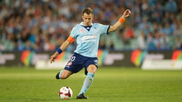 Sydney FC's Alessandro Del Piero dispatches the winning goal from the penalty spot on Saturday's game. A man was stabbed in a scuffle in the Sydney CBD after the event.