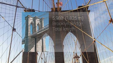 Augmented reality: The Brooklyn Bridge as seen through Google Glass.