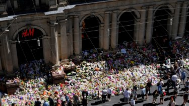 Floral tributes in the Bourke Street Mall after the January tragedy that claimed six lives.