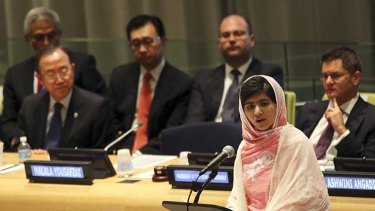 Courageous: Malala Yousafzai at the United Nations in New York.