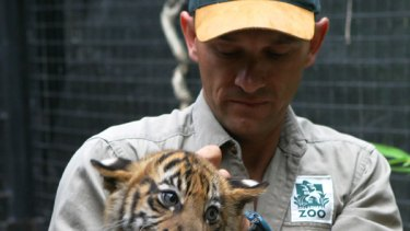 Mark Turner with a 12-week-old tiger cub.