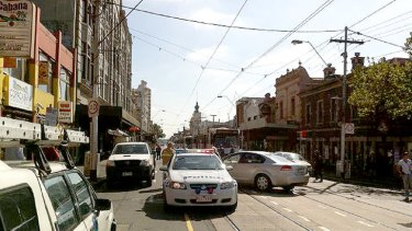Police block Smith Street in both directions after the explosion.