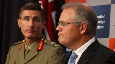 Lieutenant-General Angus Campbell and Immigration Minister Scott Morrison during an Operation Sovereign Borders briefing in Canberra on Wednesday.