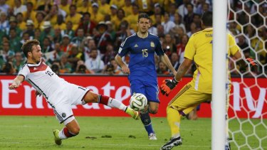 Germany's Mario Goetze scores the winning goal against Argentina in the 2014 FIFA World Cup final.